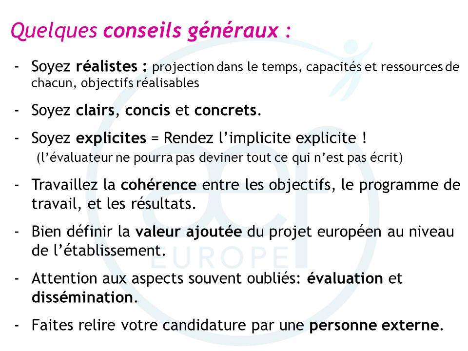 Quelques conseils généraux : -Soyez réalistes : projection dans le temps, capacités et ressources de chacun, objectifs réalisables -Soyez clairs, conc