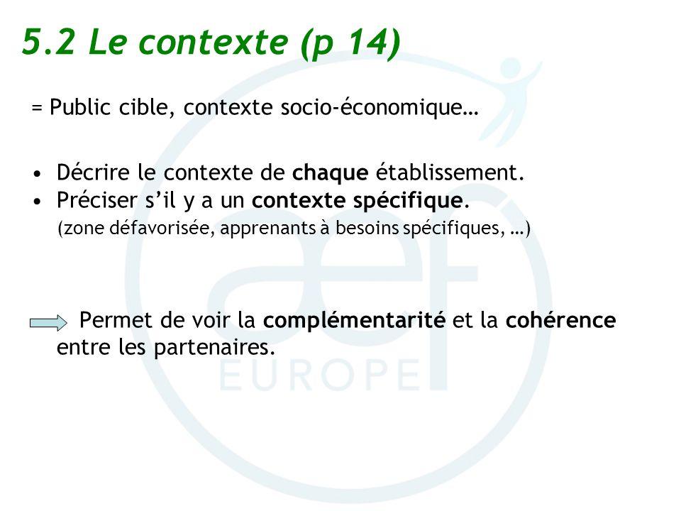 5.2Le contexte (p 14) = Public cible, contexte socio-économique… Décrire le contexte de chaque établissement. Préciser sil y a un contexte spécifique.