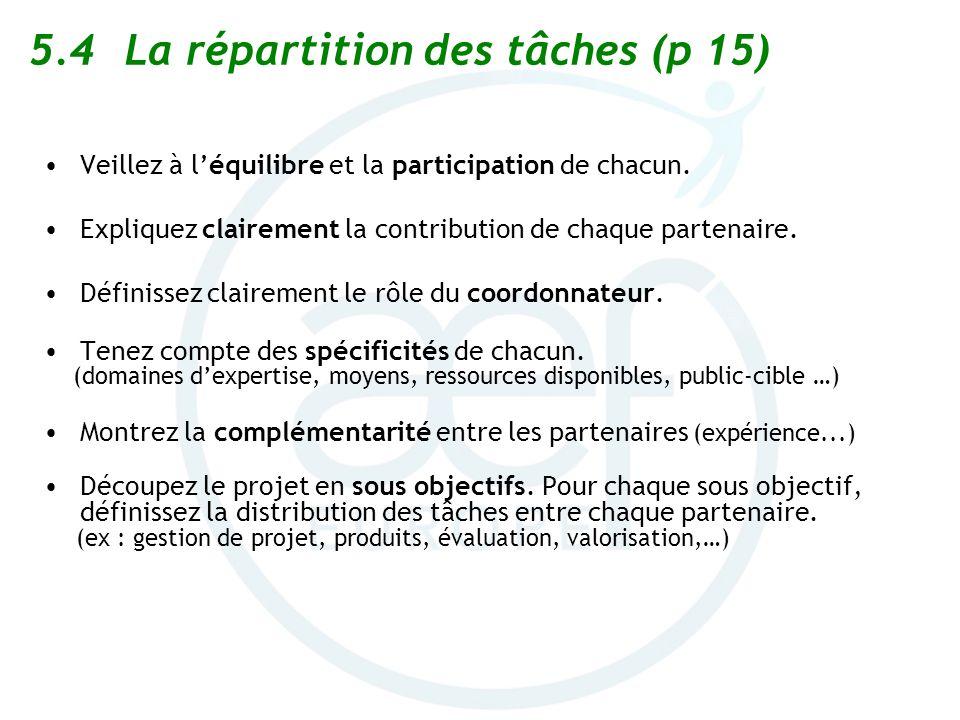 5.4La répartition des tâches (p 15) Veillez à léquilibre et la participation de chacun. Expliquez clairement la contribution de chaque partenaire. Déf