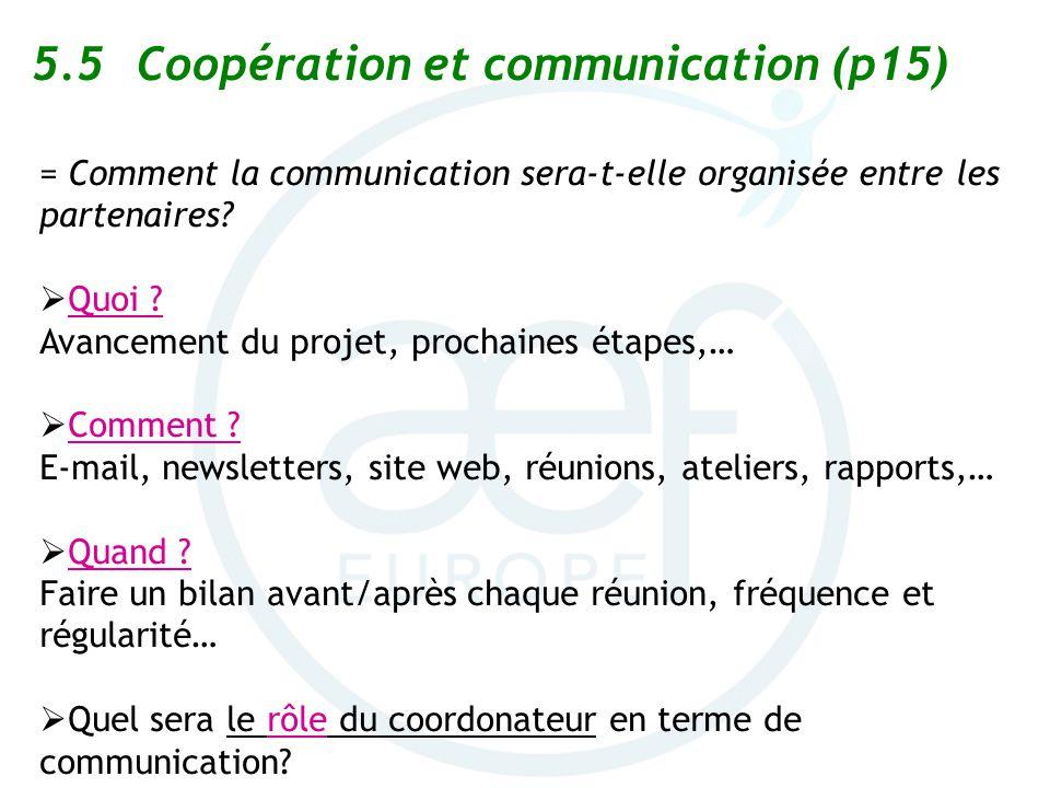 5.5Coopération et communication (p15) = Comment la communication sera-t-elle organisée entre les partenaires? Quoi ? Avancement du projet, prochaines