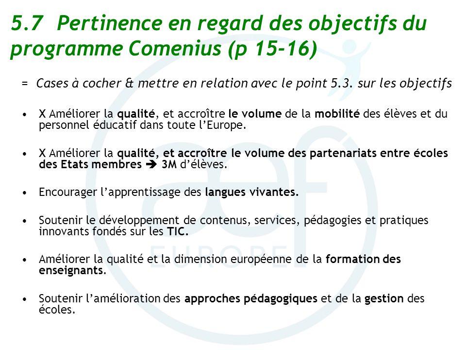 5.7Pertinence en regard des objectifs du programme Comenius (p 15-16) = Cases à cocher & mettre en relation avec le point 5.3. sur les objectifs X Amé