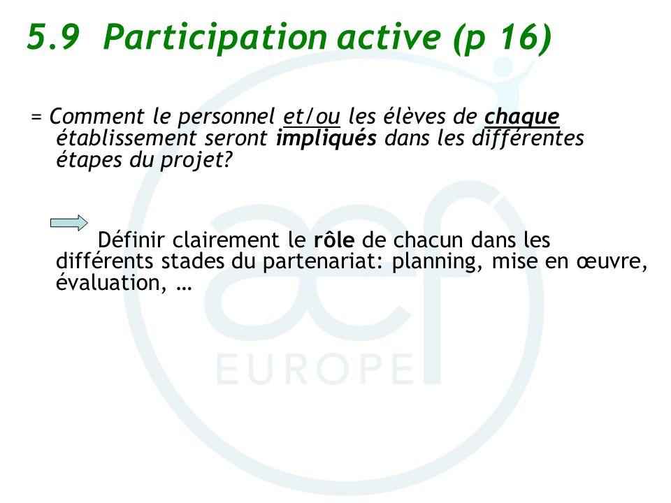 5.9 Participation active (p 16) = Comment le personnel et/ou les élèves de chaque établissement seront impliqués dans les différentes étapes du projet