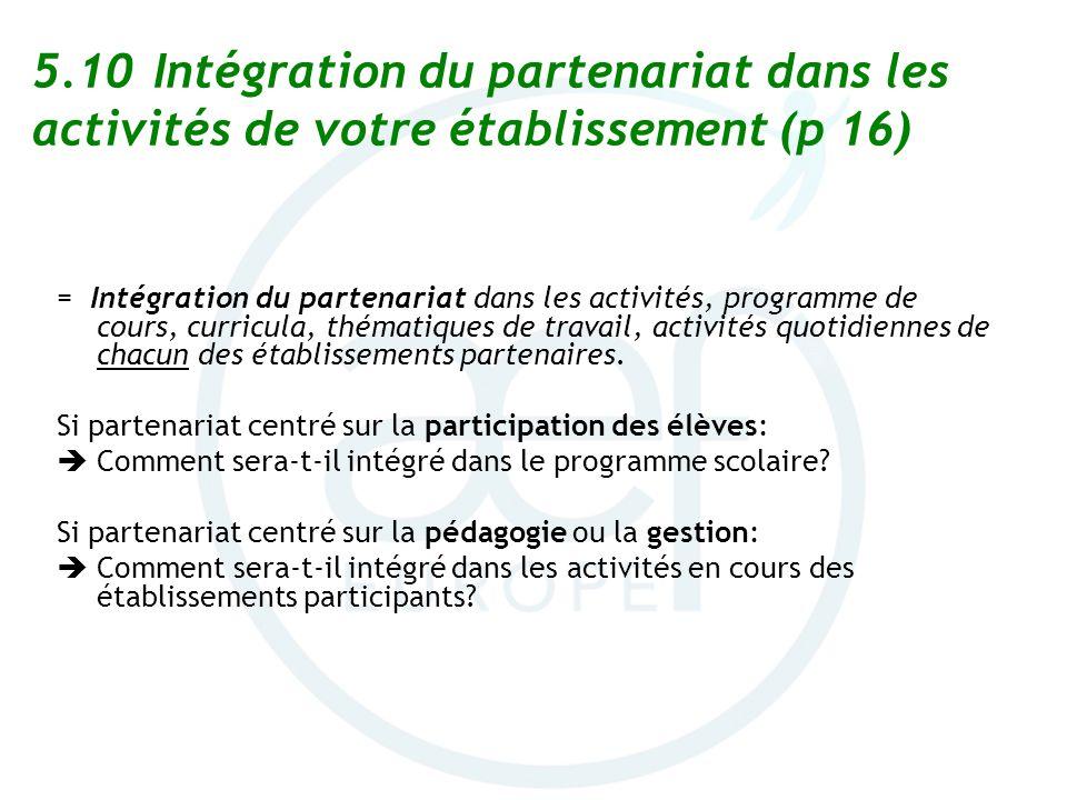 5.10 Intégration du partenariat dans les activités de votre établissement (p 16) = Intégration du partenariat dans les activités, programme de cours,