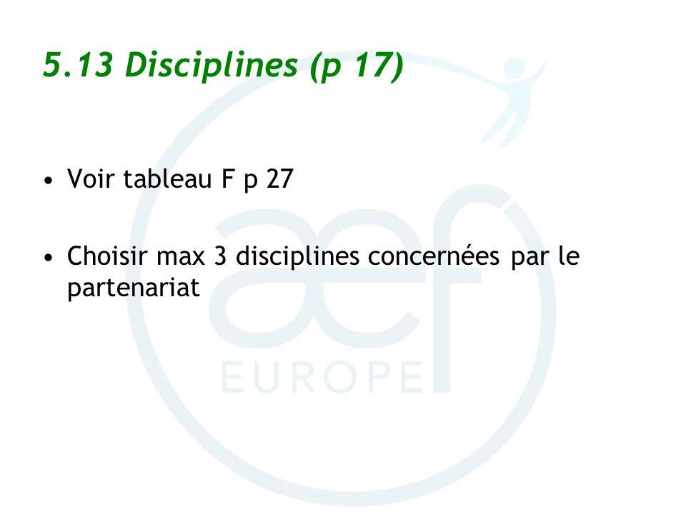 5.13 Disciplines (p 17) Voir tableau F p 27 Choisir max 3 disciplines concernées par le partenariat