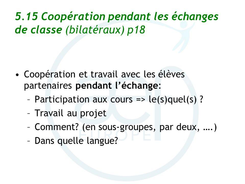 5.15 Coopération pendant les échanges de classe (bilatéraux) p18 Coopération et travail avec les élèves partenaires pendant léchange: –Participation a