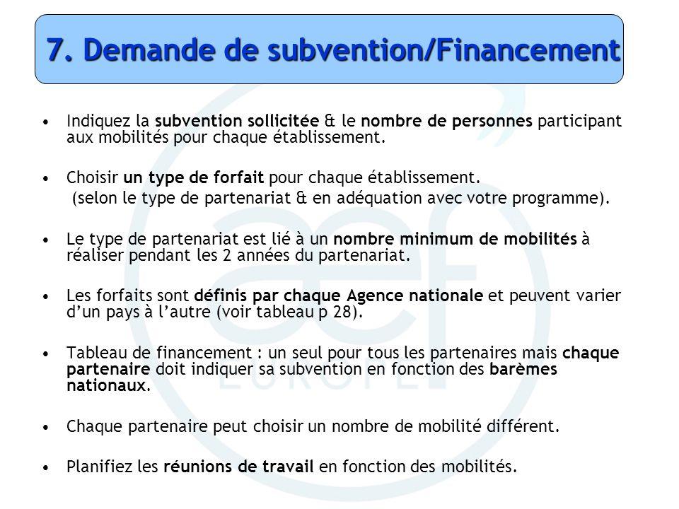 Indiquez la subvention sollicitée & le nombre de personnes participant aux mobilités pour chaque établissement. Choisir un type de forfait pour chaque