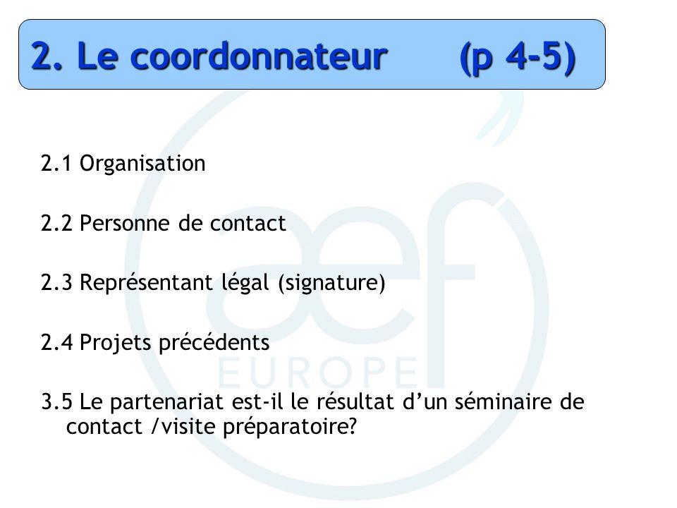 2.1 Organisation 2.2 Personne de contact 2.3 Représentant légal (signature) 2.4 Projets précédents 3.5 Le partenariat est-il le résultat dun séminaire