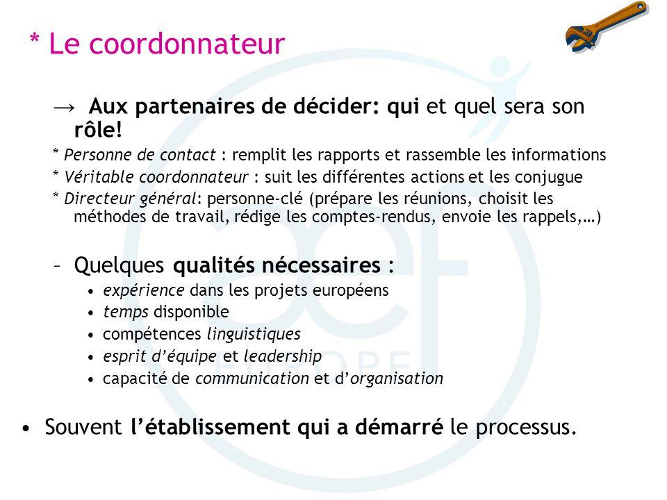 * Le coordonnateur Aux partenaires de décider: qui et quel sera son rôle! * Personne de contact : remplit les rapports et rassemble les informations *