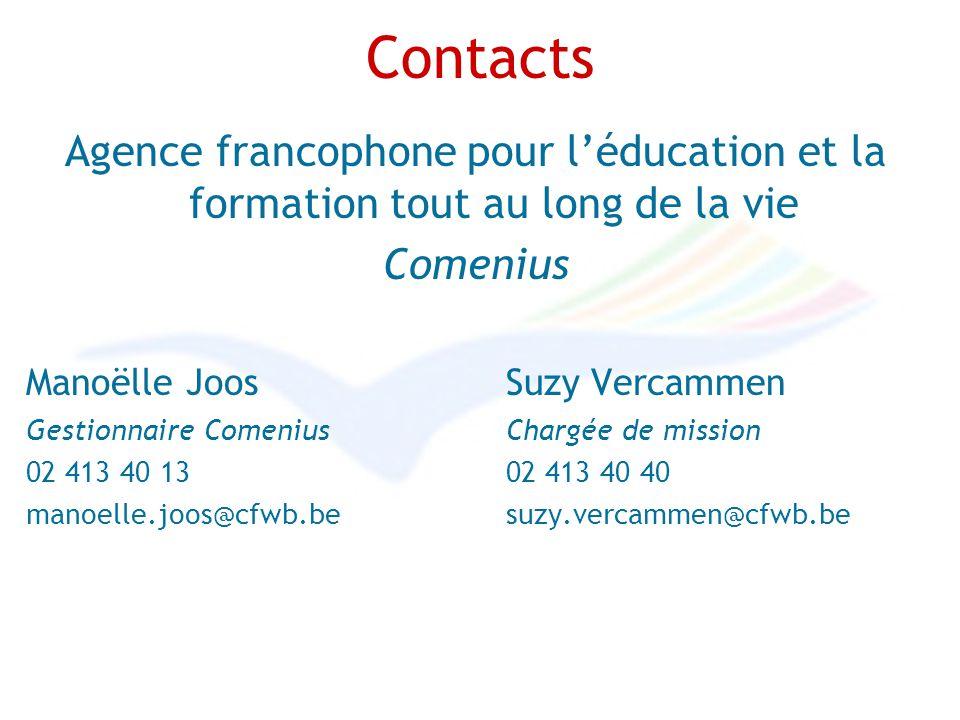 Contacts Agence francophone pour léducation et la formation tout au long de la vie Comenius Manoëlle Joos Suzy Vercammen Gestionnaire Comenius Chargée