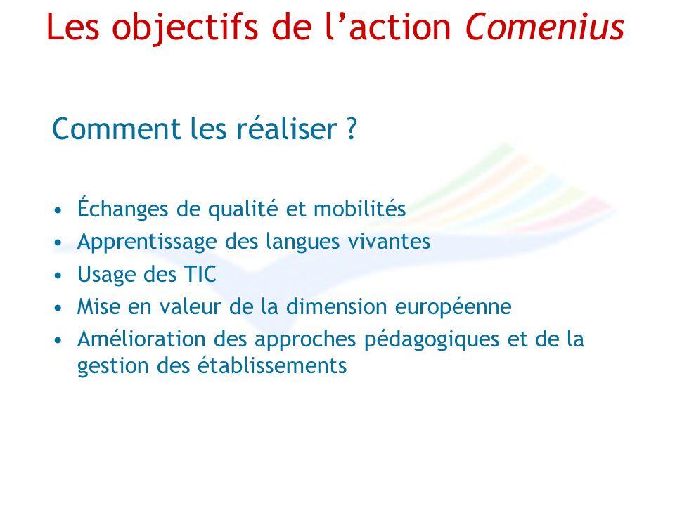 Les objectifs de laction Comenius Comment les réaliser ? Échanges de qualité et mobilités Apprentissage des langues vivantes Usage des TIC Mise en val
