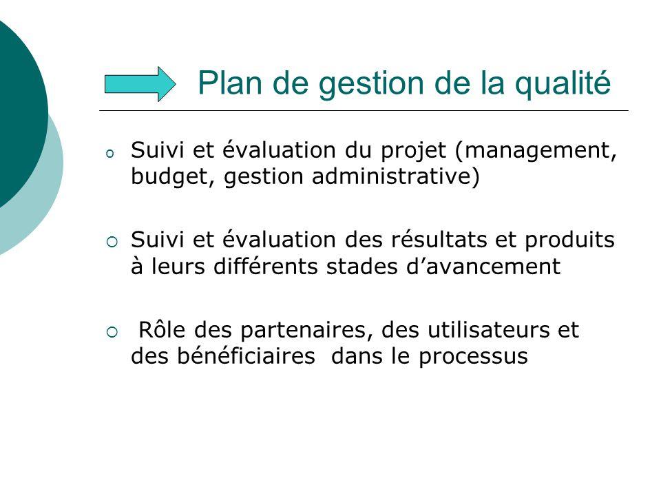 Plan de gestion de la qualité o Suivi et évaluation du projet (management, budget, gestion administrative) Suivi et évaluation des résultats et produi