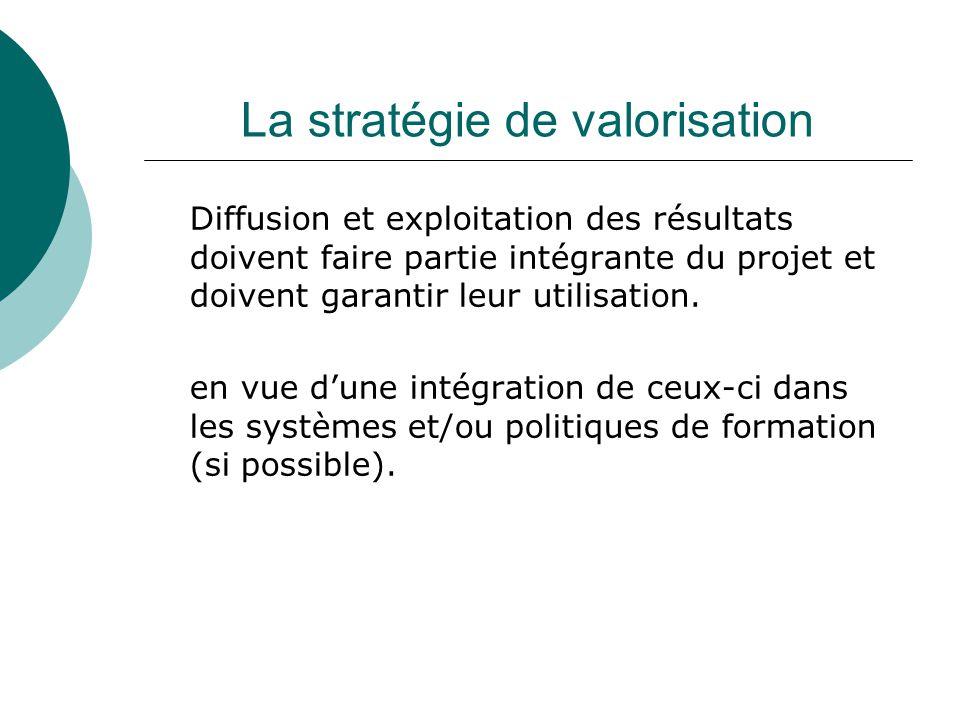 La stratégie de valorisation Diffusion et exploitation des résultats doivent faire partie intégrante du projet et doivent garantir leur utilisation. e