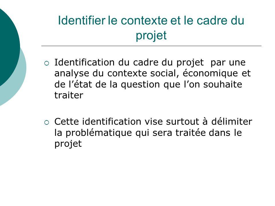 Identifier le contexte et le cadre du projet Identification du cadre du projet par une analyse du contexte social, économique et de létat de la questi