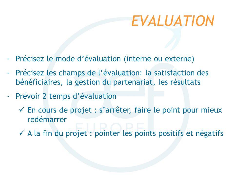 EVALUATION -Précisez le mode dévaluation (interne ou externe) -Précisez les champs de lévaluation: la satisfaction des bénéficiaires, la gestion du pa