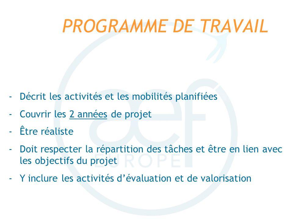 PROGRAMME DE TRAVAIL -Décrit les activités et les mobilités planifiées -Couvrir les 2 années de projet -Être réaliste -Doit respecter la répartition d