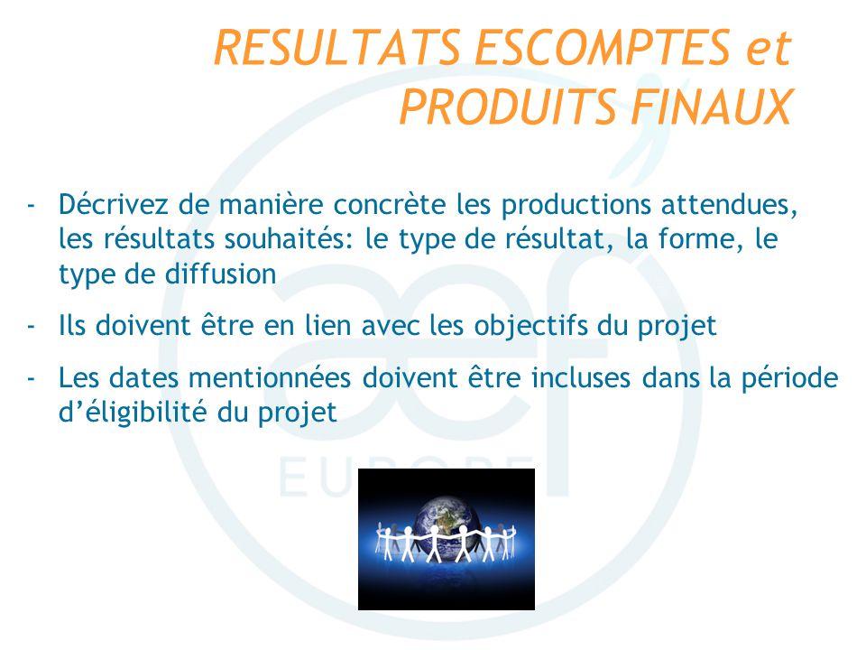RESULTATS ESCOMPTES et PRODUITS FINAUX -Décrivez de manière concrète les productions attendues, les résultats souhaités: le type de résultat, la forme