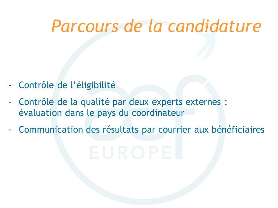 Parcours de la candidature -Contrôle de léligibilité -Contrôle de la qualité par deux experts externes : évaluation dans le pays du coordinateur -Comm