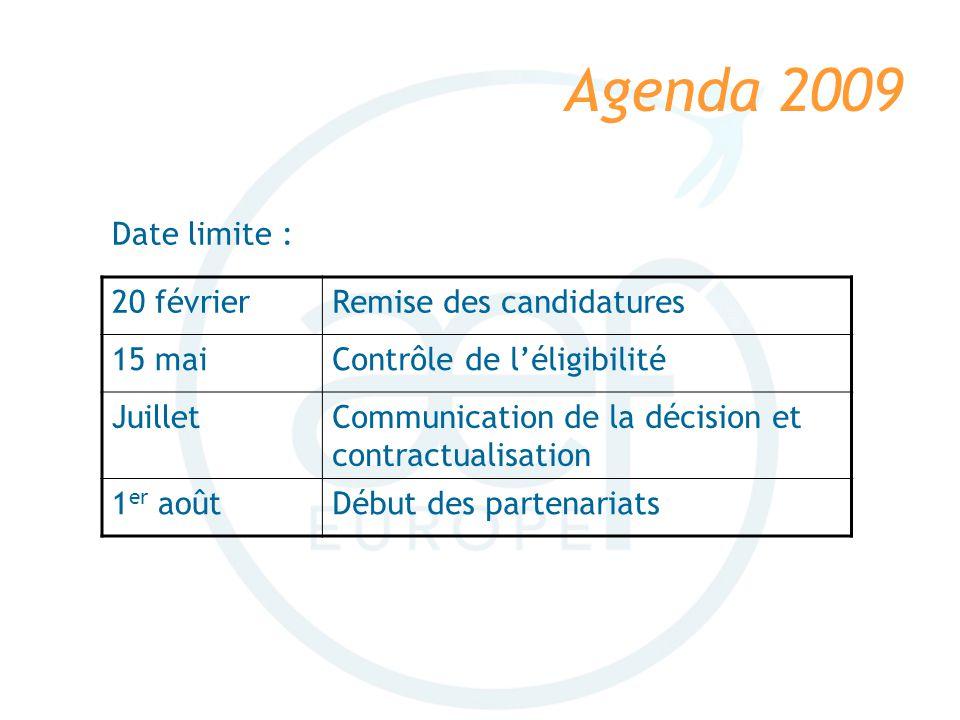 Agenda 2009 20 févrierRemise des candidatures 15 maiContrôle de léligibilité JuilletCommunication de la décision et contractualisation 1 er aoûtDébut