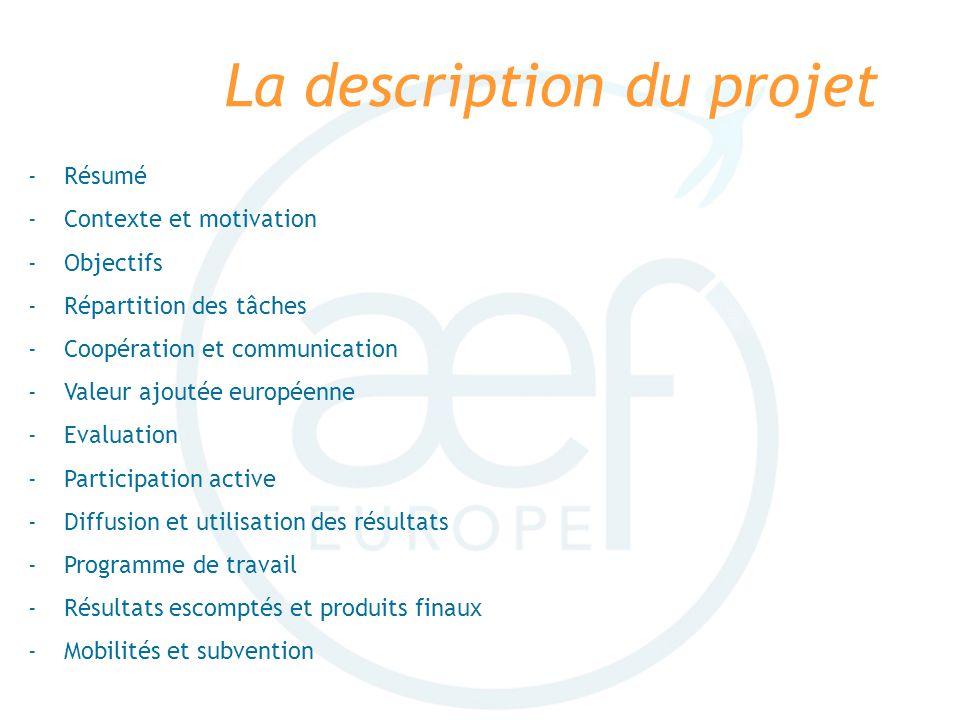 La description du projet -Résumé -Contexte et motivation -Objectifs -Répartition des tâches -Coopération et communication -Valeur ajoutée européenne -