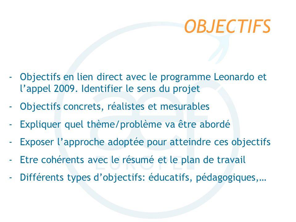 OBJECTIFS -Objectifs en lien direct avec le programme Leonardo et lappel 2009. Identifier le sens du projet -Objectifs concrets, réalistes et mesurabl