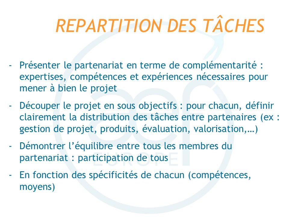 REPARTITION DES TÂCHES -Présenter le partenariat en terme de complémentarité : expertises, compétences et expériences nécessaires pour mener à bien le
