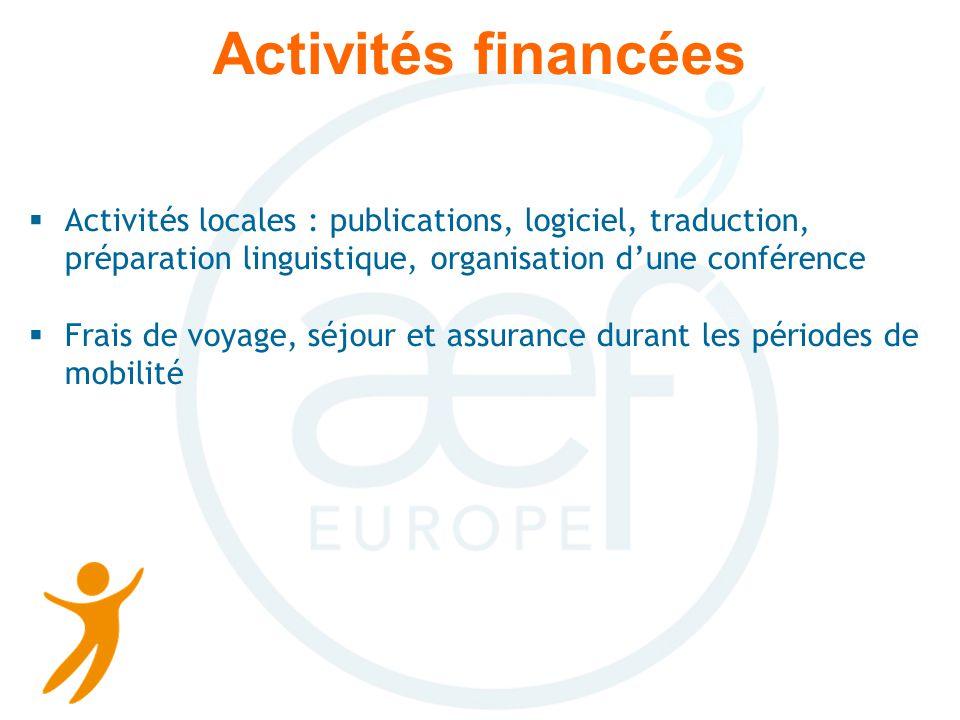 Activités financées Activités locales : publications, logiciel, traduction, préparation linguistique, organisation dune conférence Frais de voyage, séjour et assurance durant les périodes de mobilité