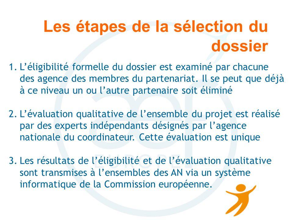 Les étapes de la sélection du dossier 1.Léligibilité formelle du dossier est examiné par chacune des agence des membres du partenariat.