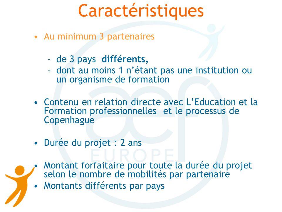 Le formulaire de candidature Il contient : -Différentes informations sur chaque partenaire -Une description du projet (objectifs, résultats et produits) -Un programme de travail (étapes et mobilités) -Un tableau des résultats et produits escomptés -Un tableau financier (=demande de subvention )
