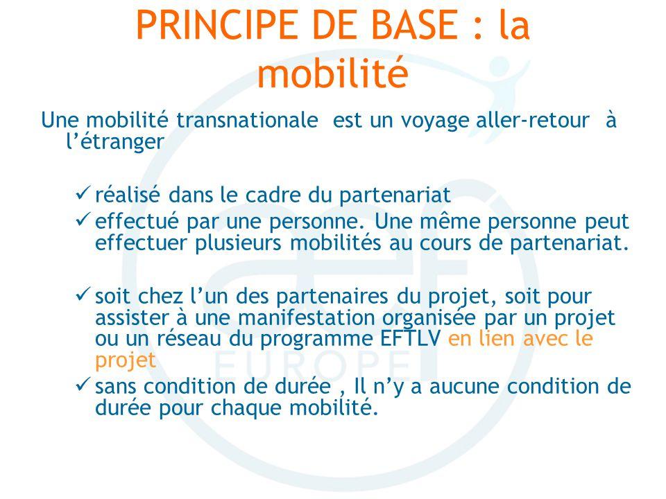 PRINCIPE DE BASE : la mobilité Une mobilité transnationale est un voyage aller-retour à létranger réalisé dans le cadre du partenariat effectué par une personne.