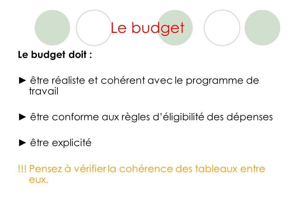 Le budget Le budget doit : être réaliste et cohérent avec le programme de travail être conforme aux règles déligibilité des dépenses être explicité !!.