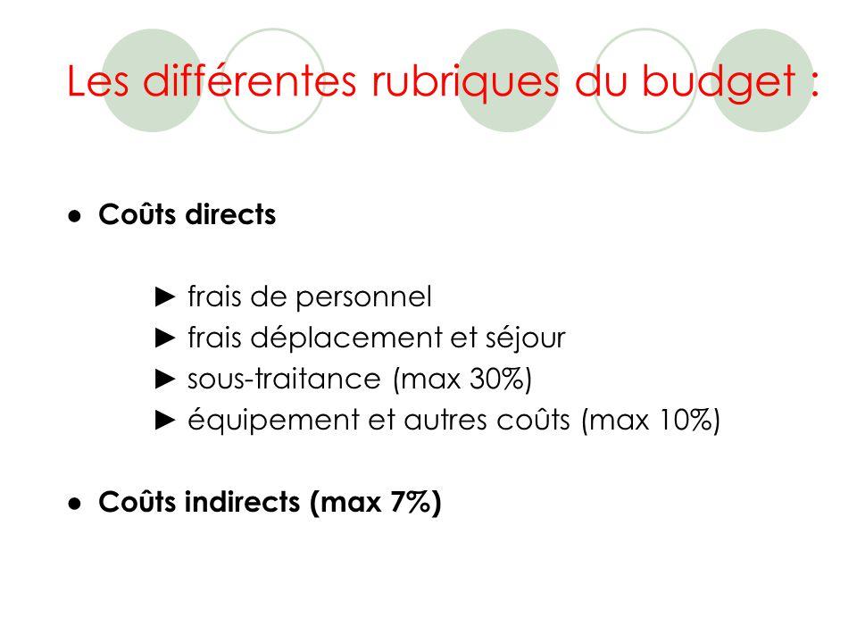 Les différentes rubriques du budget : Coûts directs frais de personnel frais déplacement et séjour sous-traitance (max 30%) équipement et autres coûts (max 10%) Coûts indirects (max 7%)