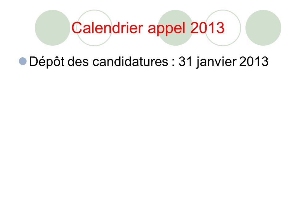Calendrier appel 2013 Dépôt des candidatures : 31 janvier 2013