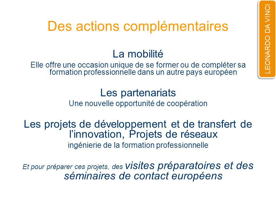 Des actions complémentaires La mobilité Elle offre une occasion unique de se former ou de compléter sa formation professionnelle dans un autre pays eu