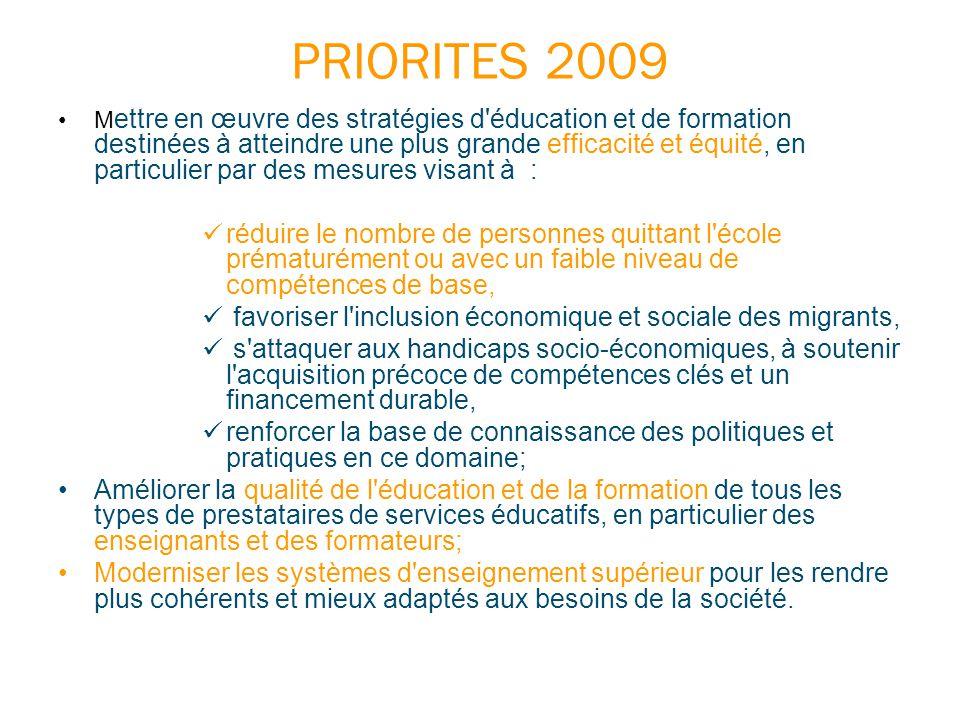 PRIORITES 2009 M ettre en œuvre des stratégies d'éducation et de formation destinées à atteindre une plus grande efficacité et équité, en particulier