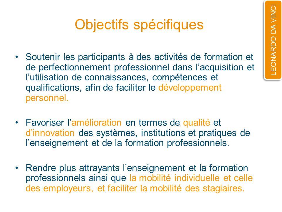 Objectifs spécifiques Soutenir les participants à des activités de formation et de perfectionnement professionnel dans lacquisition et lutilisation de