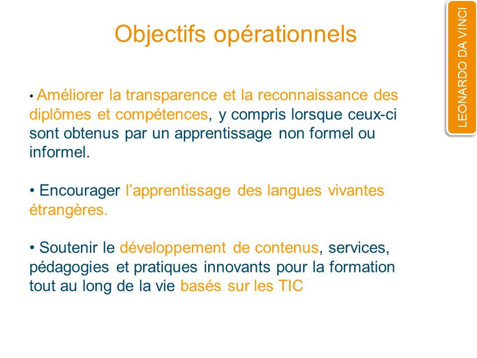 Objectifs opérationnels LEONARDO DA VINCI Améliorer la transparence et la reconnaissance des diplômes et compétences, y compris lorsque ceux-ci sont o