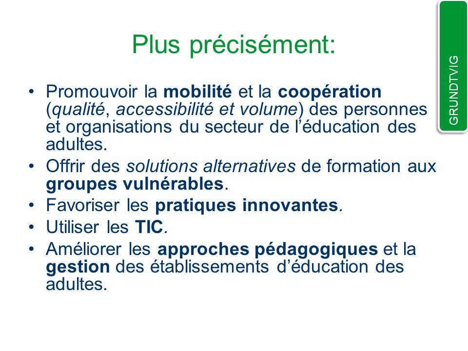 Plus précisément: Promouvoir la mobilité et la coopération (qualité, accessibilité et volume) des personnes et organisations du secteur de léducation