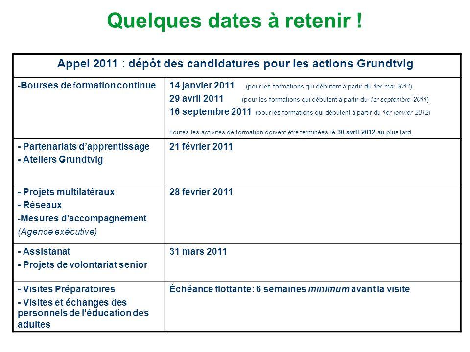 Quelques dates à retenir ! Appel 2011 : dépôt des candidatures pour les actions Grundtvig -Bourses de formation continue 14 janvier 2011 (pour les for