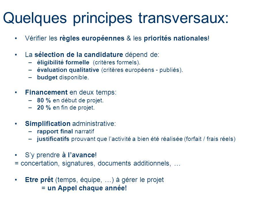 Quelques principes transversaux: Vérifier les règles européennes & les priorités nationales! La sélection de la candidature dépend de: –éligibilité fo