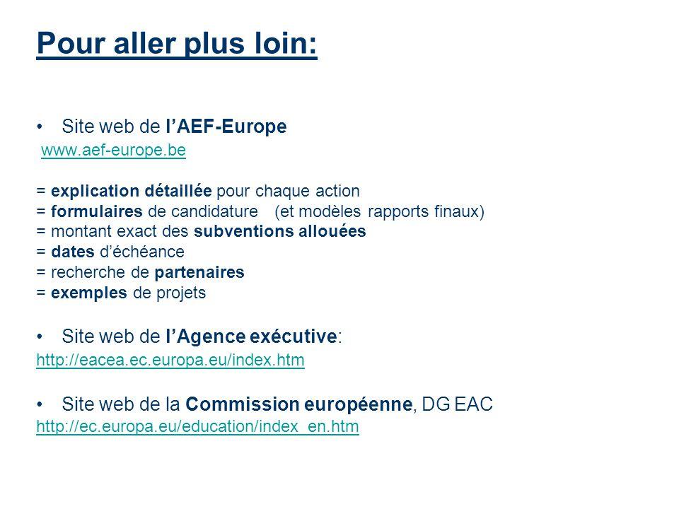 Pour aller plus loin: Site web de lAEF-Europe www.aef-europe.be = explication détaillée pour chaque action = formulaires de candidature (et modèles ra