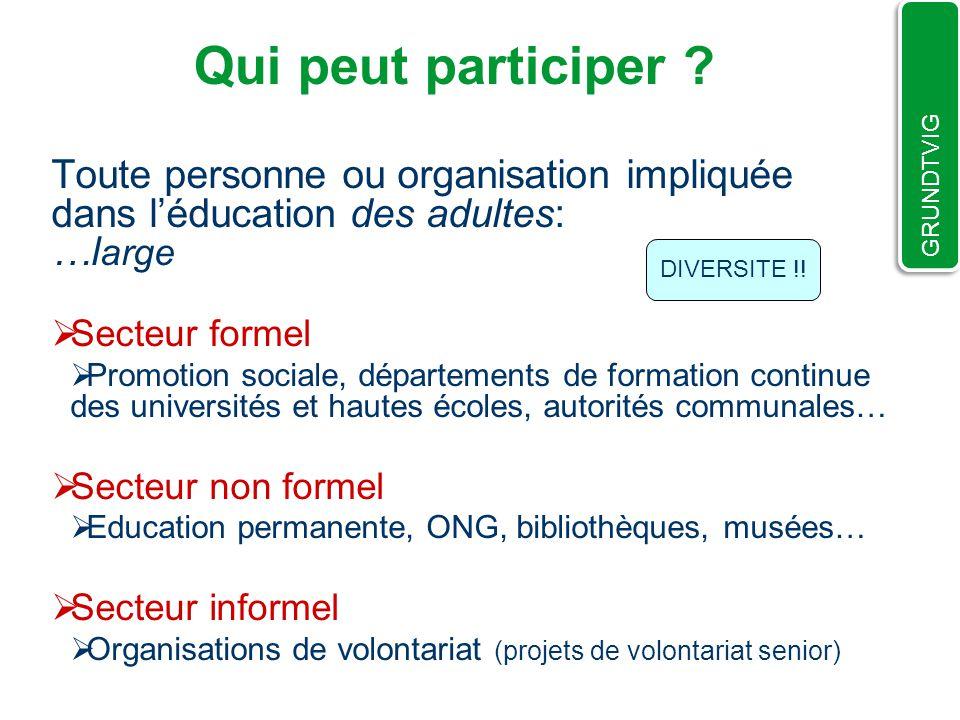 Toute personne ou organisation impliquée dans léducation des adultes: …l arge Secteur formel Promotion sociale, départements de formation continue des