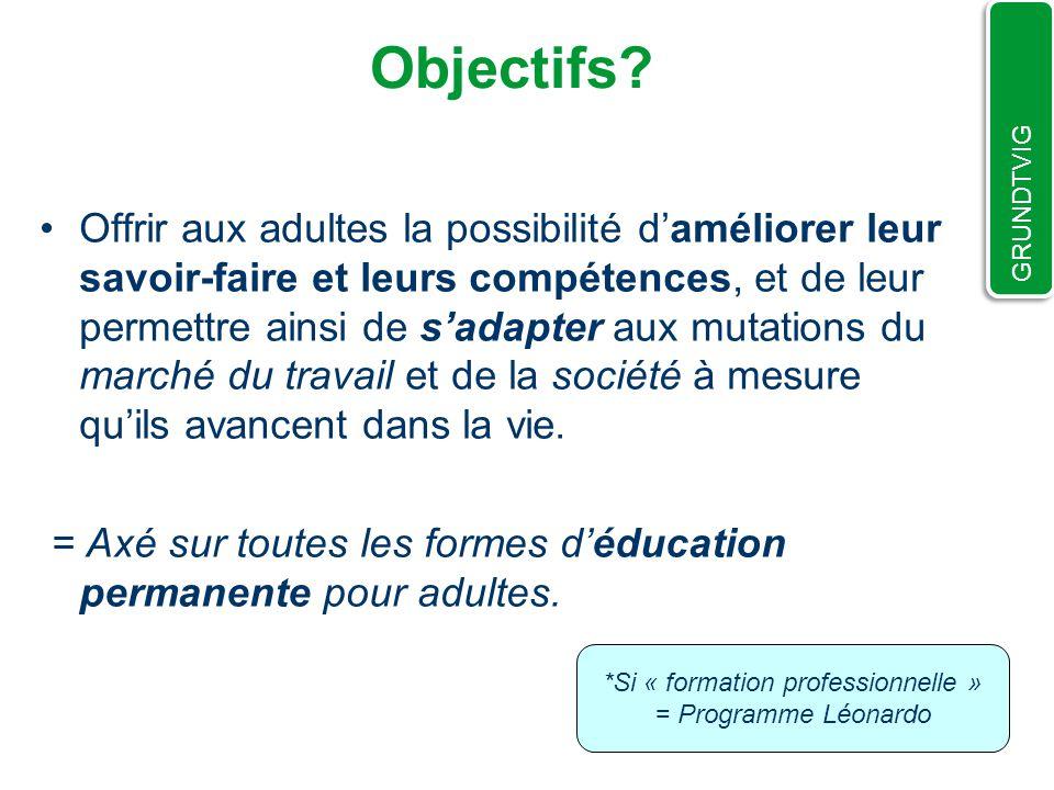 Plus précisément: Promouvoir la mobilité et la coopération (qualité, accessibilité et volume) des personnes et organisations du secteur de léducation des adultes.