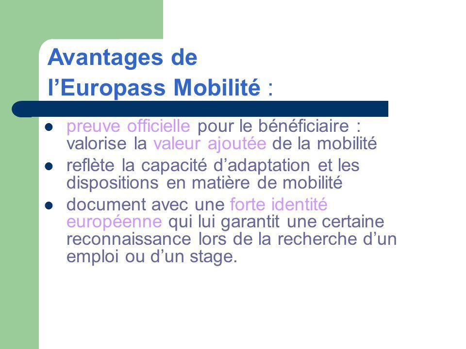 preuve officielle pour le bénéficiaire : valorise la valeur ajoutée de la mobilité reflète la capacité dadaptation et les dispositions en matière de mobilité document avec une forte identité européenne qui lui garantit une certaine reconnaissance lors de la recherche dun emploi ou dun stage.