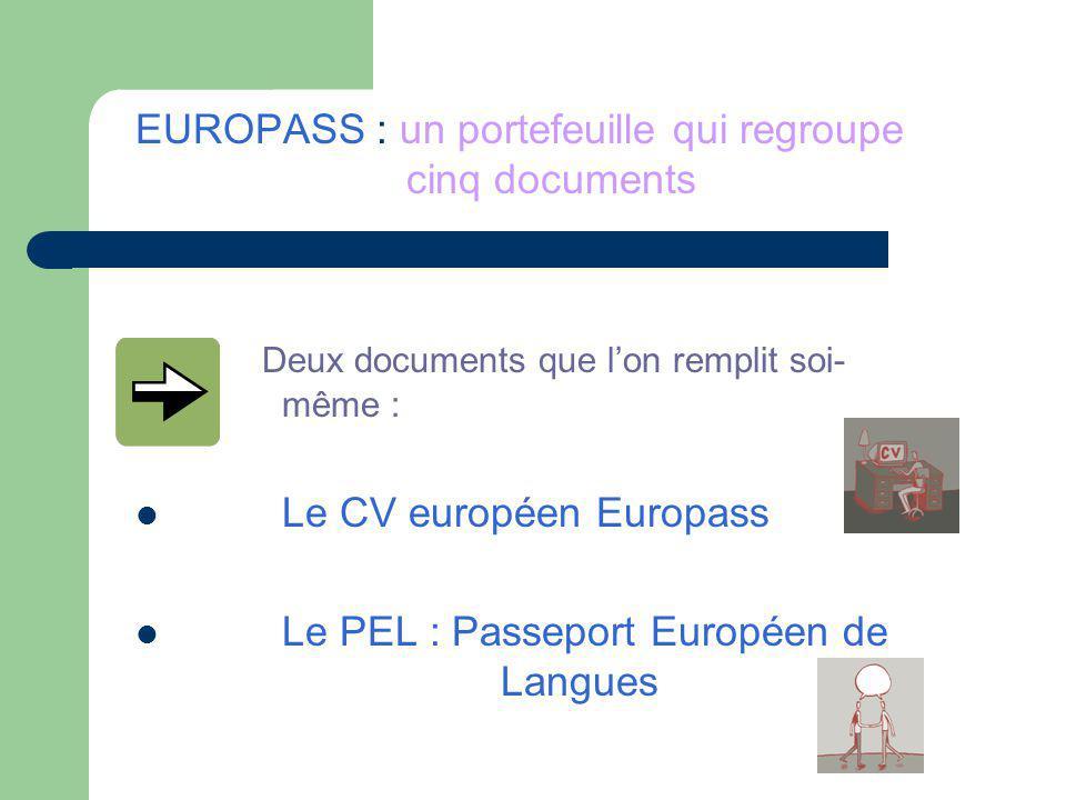 EUROPASS : un portefeuille qui regroupe cinq documents Deux documents que lon remplit soi- même : Le CV européen Europass Le PEL : Passeport Européen