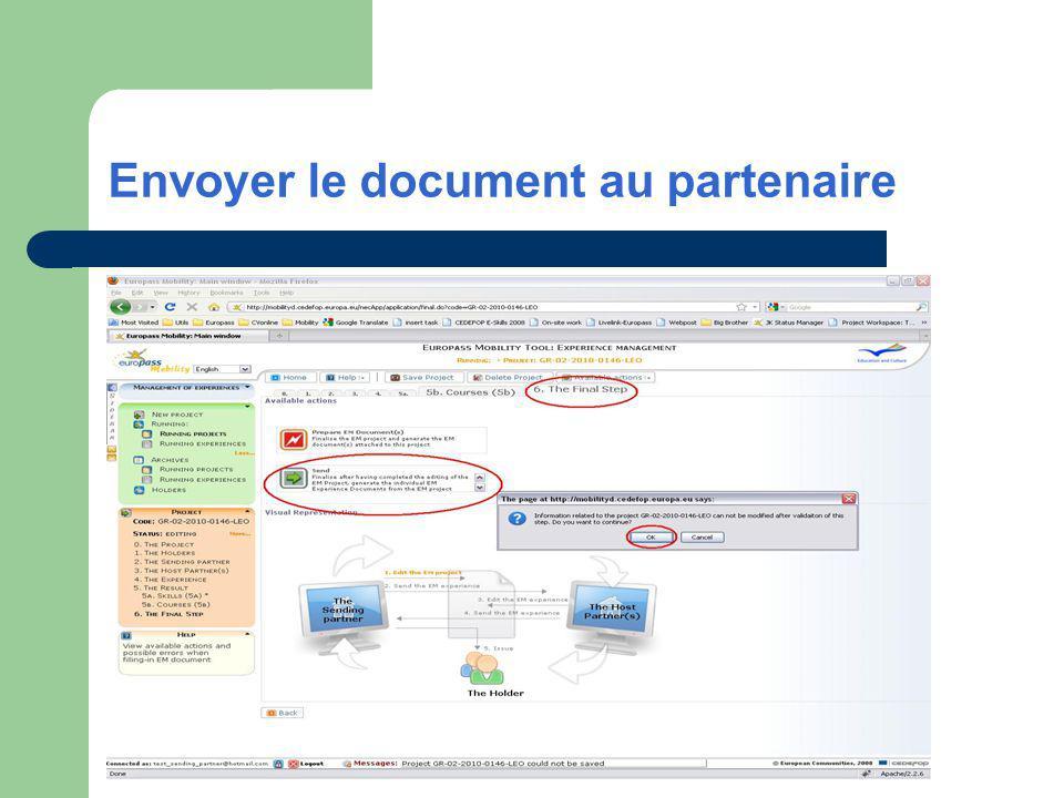 Envoyer le document au partenaire