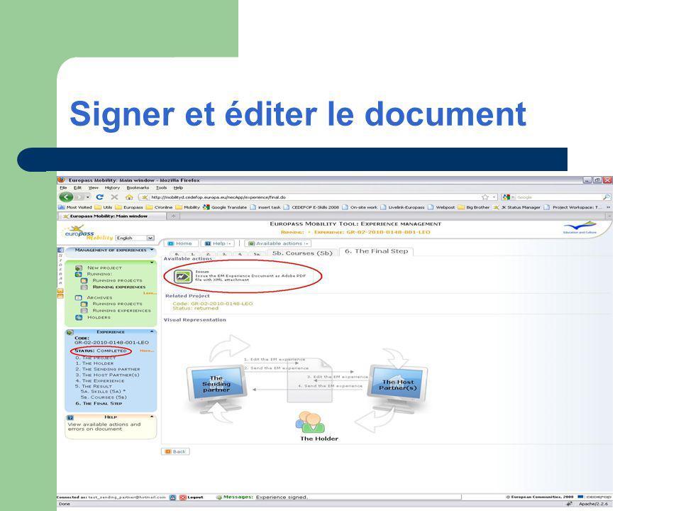 Signer et éditer le document