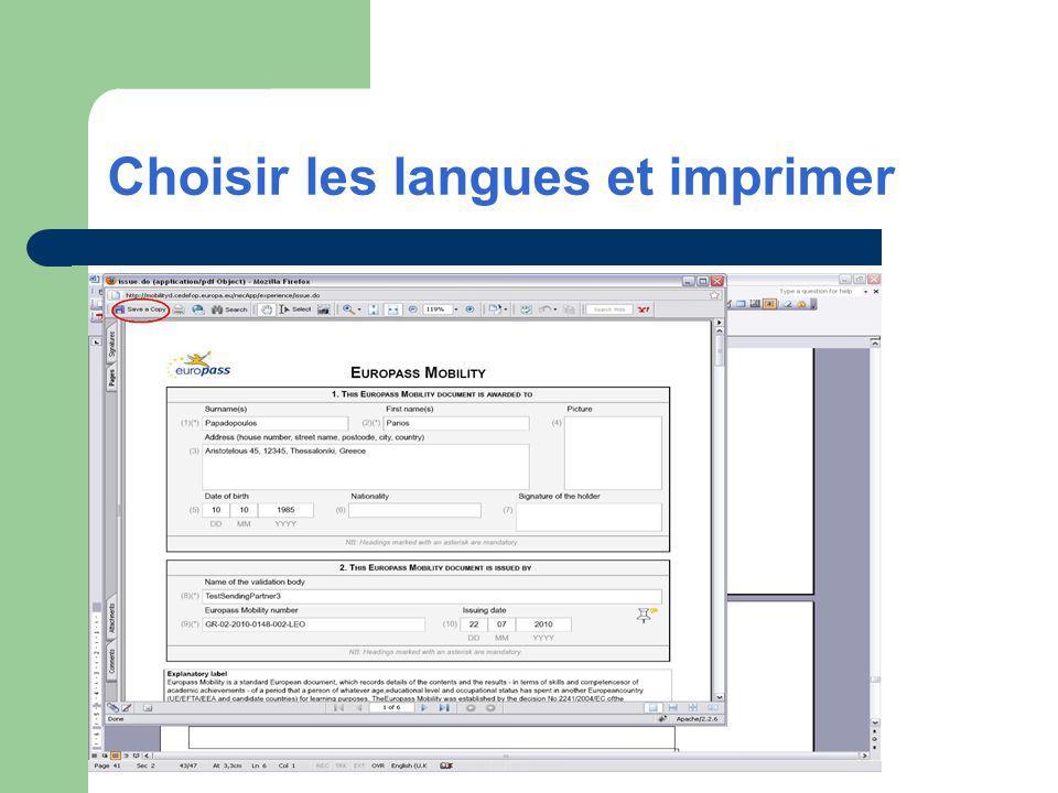 Choisir les langues et imprimer