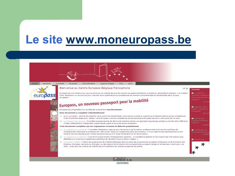 Le site www.moneuropass.bewww.moneuropass.be