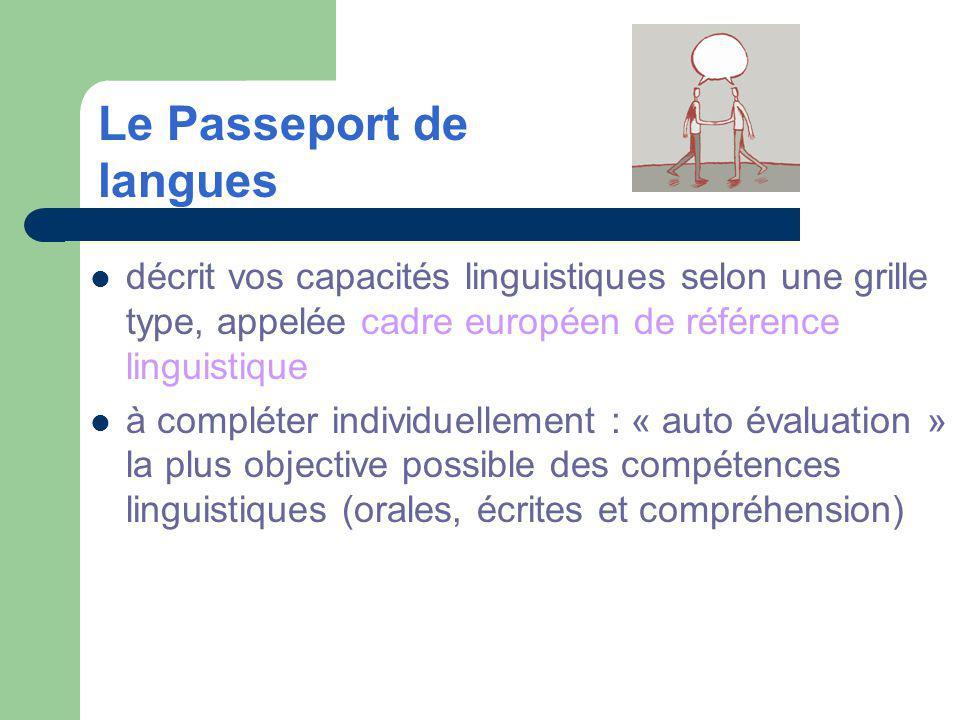 décrit vos capacités linguistiques selon une grille type, appelée cadre européen de référence linguistique à compléter individuellement : « auto évaluation » la plus objective possible des compétences linguistiques (orales, écrites et compréhension) Le Passeport de langues