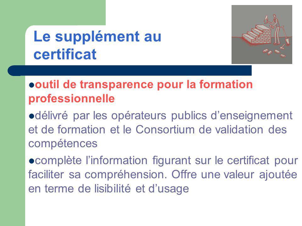 outil de transparence pour la formation professionnelle délivré par les opérateurs publics denseignement et de formation et le Consortium de validation des compétences complète linformation figurant sur le certificat pour faciliter sa compréhension.